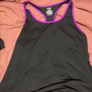 Black with purple detail workout tank, barely worn